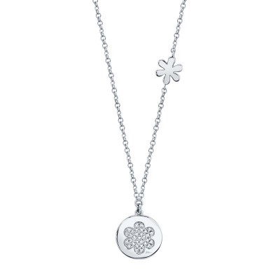 0.08ct 14k White Gold Diamond Pave Flower Disc Necklace