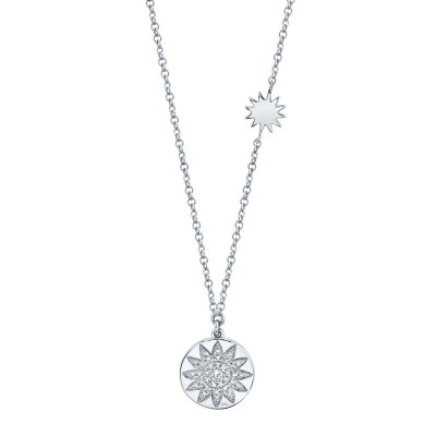 0.10ct 14k White Gold Diamond Pave Sun Disc Necklace