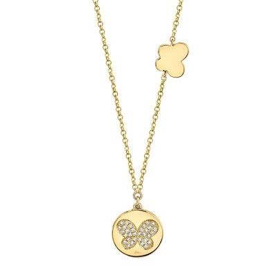 0.08ct 14k Yellow Gold Diamond Pave Butterfly Disc Necklace