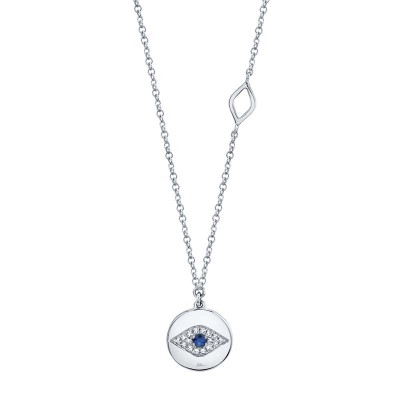 0.05ct Diamond & 0.05ct Blue Sapphire 14k White Gold Eye Necklace