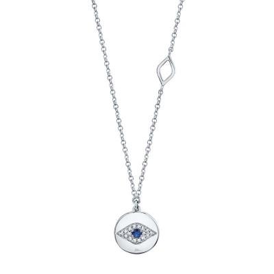 0.05ct Diamond & 0.05ct Blue Sapphire 14k White Gold Eye Necklace
