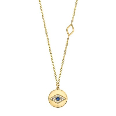 0.05ct Diamond & 0.05ct Blue Sapphire 14k Yellow Gold Eye Necklace
