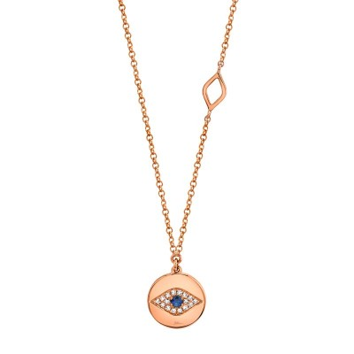 0.05ct Diamond & 0.05ct Blue Sapphire 14k Rose Gold Eye Necklace