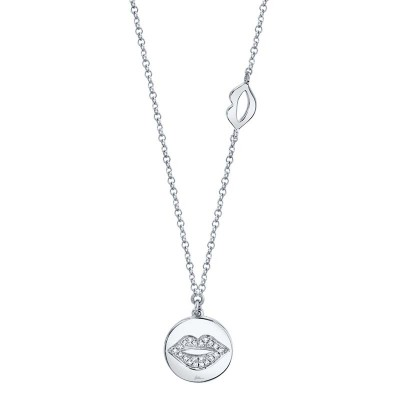 0.05ct 14k White Gold Diamond Pave Lips Disc Necklace