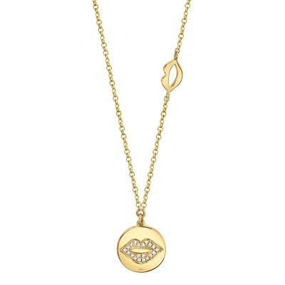 0.05ct 14k Yellow Gold Diamond Pave Lips Disc Necklace