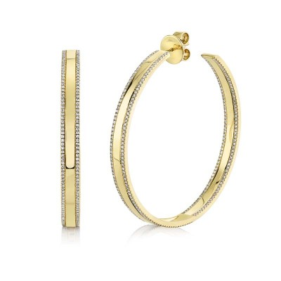 1.66Ct 14k Yellow Gold Diamond Hoop Earring