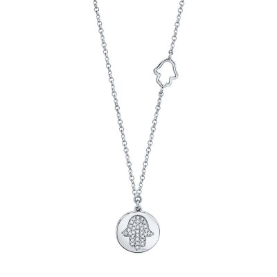 0.08ct 14k White Gold Diamond Pave Hamsa Disc Necklace
