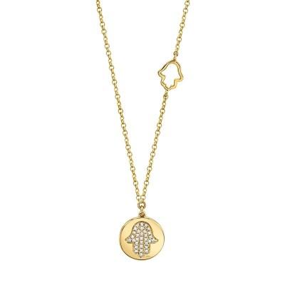 0.08ct 14k Yellow Gold Diamond Pave Hamsa Disc Necklace