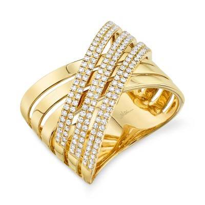 "0.54ct 14k Yellow Gold Diamond Pave ""X"" Ring"