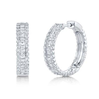 2.30ct 14k White Gold Diamond Baguette Hoop Earring