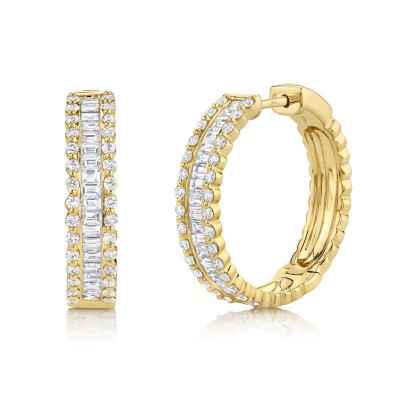 2.30ct 14k Yellow Gold Diamond Baguette Hoop Earring