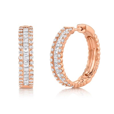 2.30ct 14k Rose Gold Diamond Baguette Hoop Earring