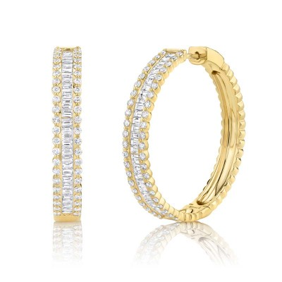3.40ct 14k Yellow Gold Diamond Baguette Hoop Earring