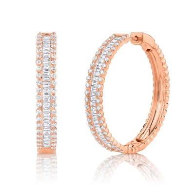3.40ct 14k Rose Gold Diamond Baguette Hoop Earring