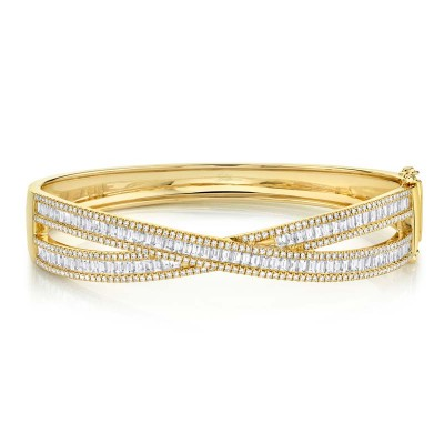 3.25ct 14k Yellow Gold Diamond Baguette Bangle