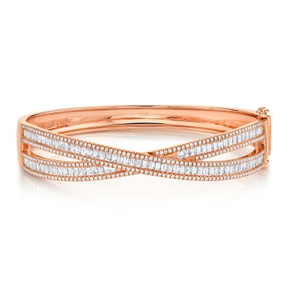 3.25ct 14k Rose Gold Diamond Baguette Bangle