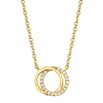 0.07ct 14k Yellow Gold Diamond Circle Necklace