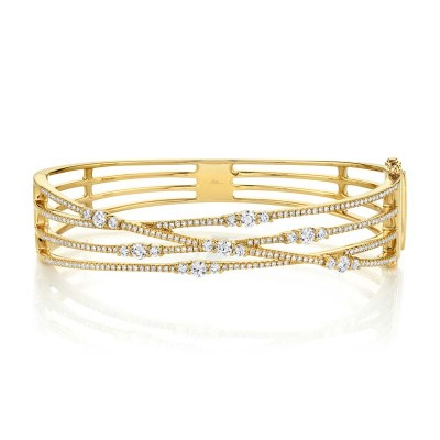 1.60ct 14k Yellow Gold Diamond Bridge Bangle