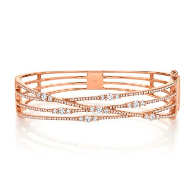 1.60ct 14k Rose Gold Diamond Bridge Bangle