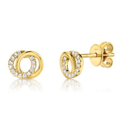 0.09ct 14k Yellow Gold Diamond Circle Earring