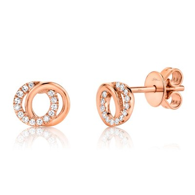 0.09ct 14k Rose Gold Diamond Circle Earring