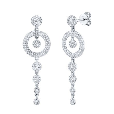 1.02ct 14k White Gold Diamond Pave Circle Earring