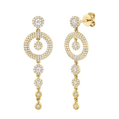 1.02ct 14k Yellow Gold Diamond Pave Circle Earring