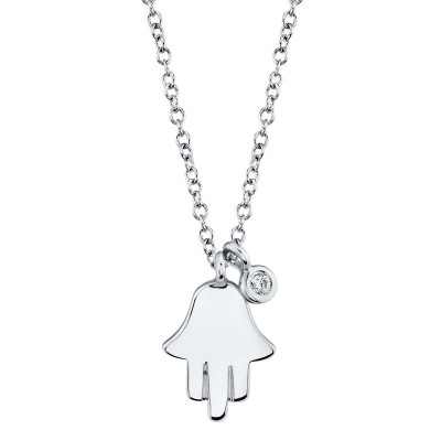 0.02ct 14k White Gold Diamond Hamsa Necklace