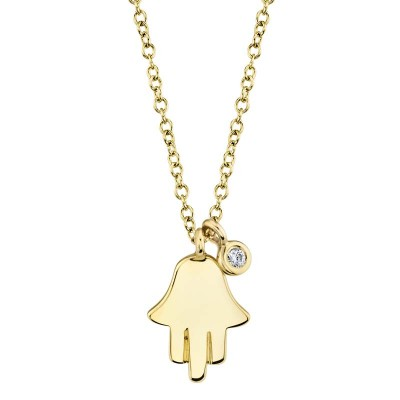 0.02ct 14k Yellow Gold Diamond Hamsa Necklace