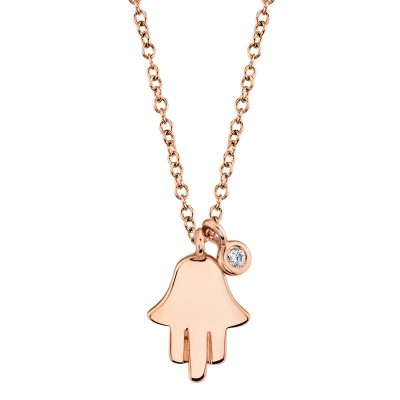 0.02ct 14k Rose Gold Diamond Hamsa Necklace