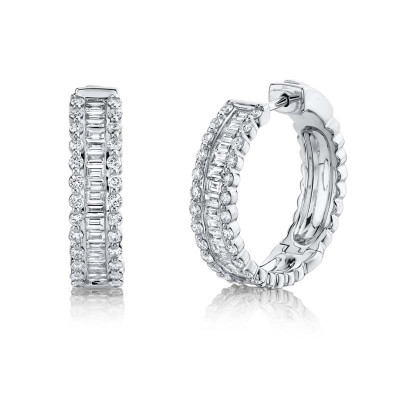 1.67ct 14k White Gold Diamond Baguette Hoop Earring