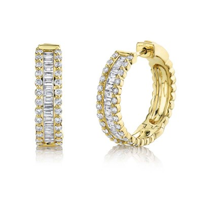 1.67ct 14k Yellow Gold Diamond Baguette Hoop Earring