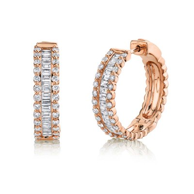 1.67ct 14k Rose Gold Diamond Baguette Hoop Earring