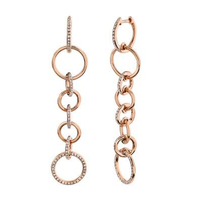 0.44ct 14k Rose Gold Diamond Circle Earring