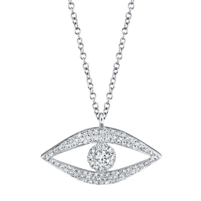 0.30ct 14k White Gold Diamond Eye Necklace