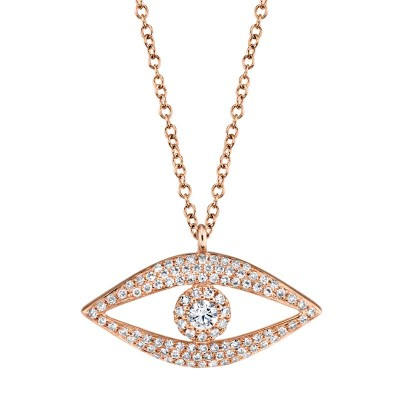 0.30ct 14k Rose Gold Diamond Eye Necklace