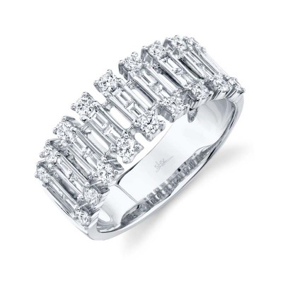 0.82ct 14k White Gold Diamond Baguette Ring
