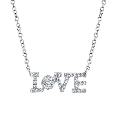 "0.14ct 14k White Gold Diamond ""Love"" Necklace"