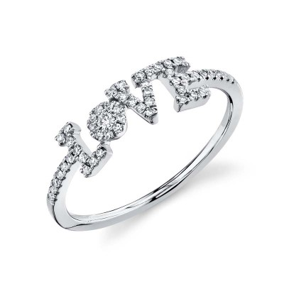 "0.17ct 14k White Gold Diamond ""Love"" Ring"
