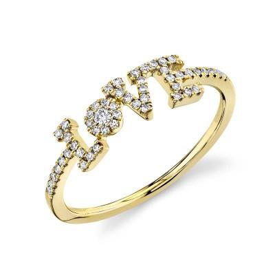 "0.17ct 14k Yellow Gold Diamond ""Love"" Ring"