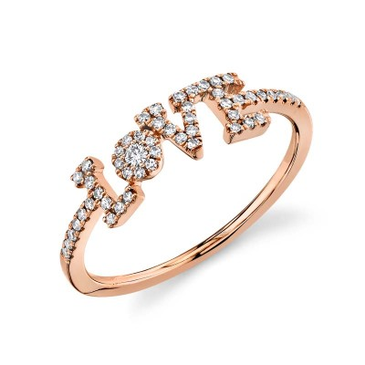 "0.17ct 14k Rose Gold Diamond ""Love"" Ring"