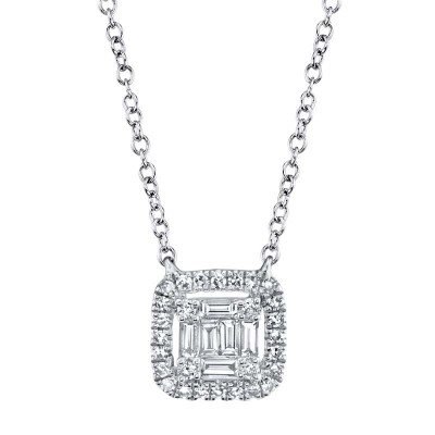 0.22ct 14k White Gold Diamond Baguette Necklace