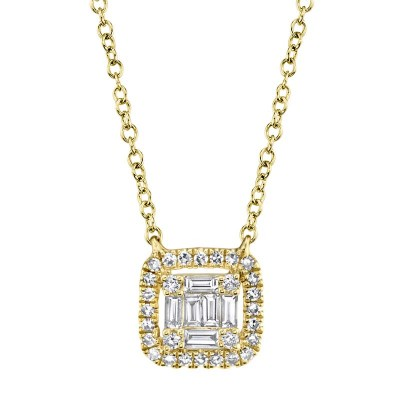 0.22ct 14k Yellow Gold Diamond Baguette Necklace