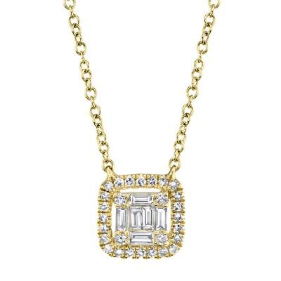 0.22ct 14k Yellow Gold Diamond Baguette Necklace