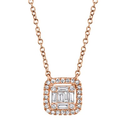 0.22ct 14k Rose Gold Diamond Baguette Necklace