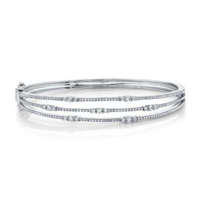 1.05ct 14k White Gold Diamond Bangle