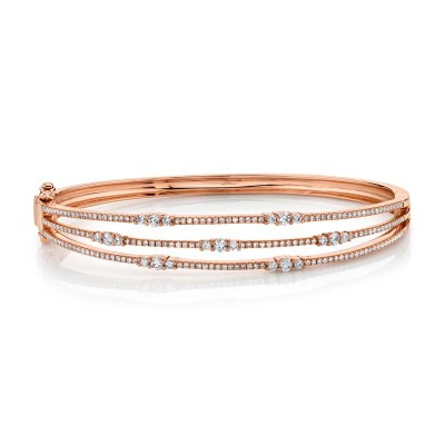 1.05ct 14k Rose Gold Diamond Bangle