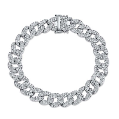 4.36ct 14k White Gold Diamond Pave Chain Bracelet