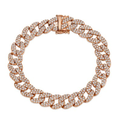4.36ct 14k Rose Gold Diamond Pave Chain Bracelet
