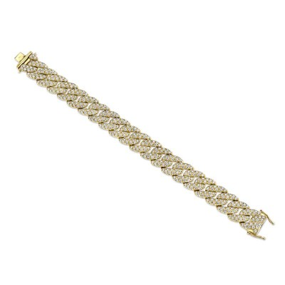 8.33ct 14k Yellow Gold Diamond Pave Chain Bracelet